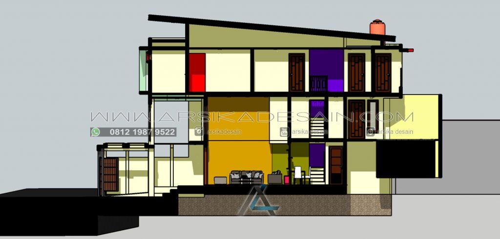 gambar potongan rumah - split level lantai